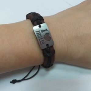 Unisex I love Jesus Genuine Leather Bracelet